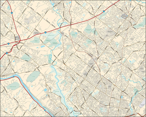 Northwestern Philadelphia PA Map - 120 square miles - with Local Streets