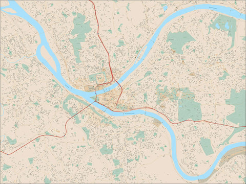 Pittsburgh PA Map - City Center - 100 square miles - with Local Streets