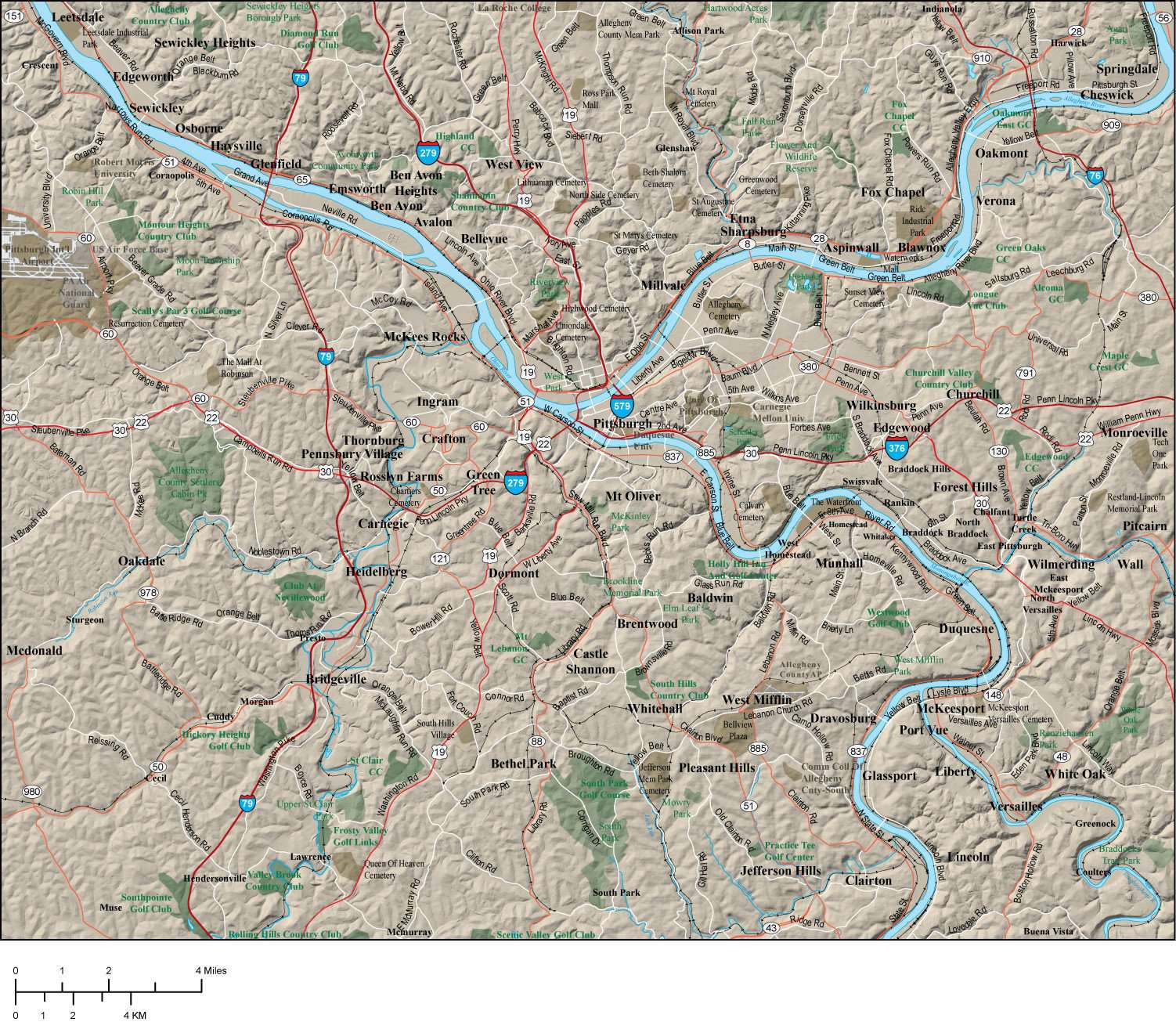 Pittsburgh PA Map - Metro Area - 500 square miles - with Major Roads Plus  Terrain