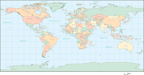 Digital World Map Geographic Projection, with Countries - Multi-Color