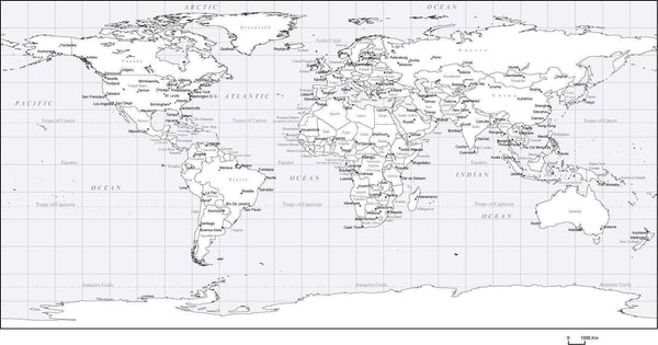 Black & White World Map with Countries, Capitals and Major ...