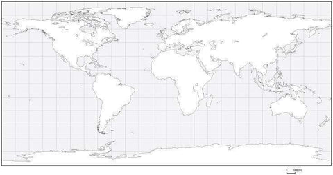 Digital World Blank Outline Map - Geographic Projection - Black & White