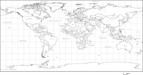 World Map with Countries - World Black & White, Rectangular Map Projection