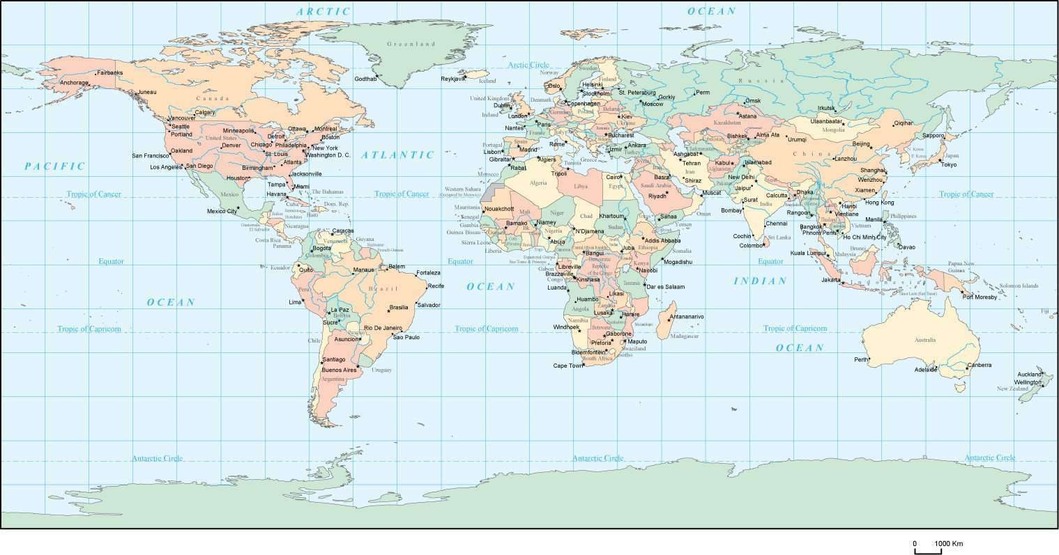 Rectangular Projection World Map - with Countries and Major Cities ...