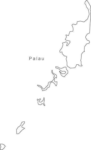 Digital Palau map in Adobe Illustrator EPS vector format