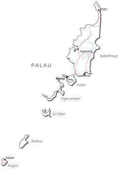 Palau Black & White Map with Capital, Major Cities, Roads, and Water Features