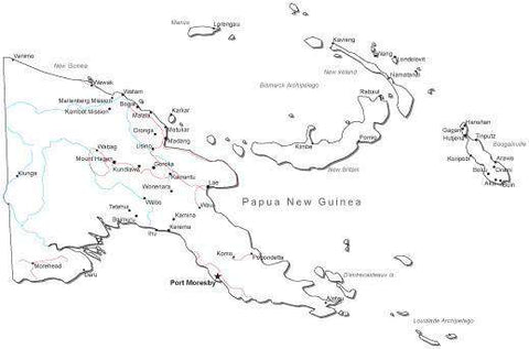 Papua New Guinea Black & White Map with Capital, Major Cities, Roads, and Water Features