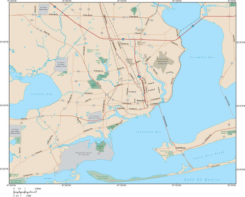 Pensacola Map Adobe Illustrator vector format PNS-XX-984719