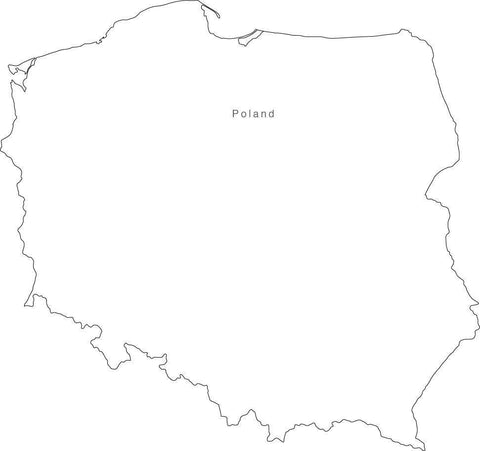 Digital Black & White Poland map in Adobe Illustrator EPS vector format