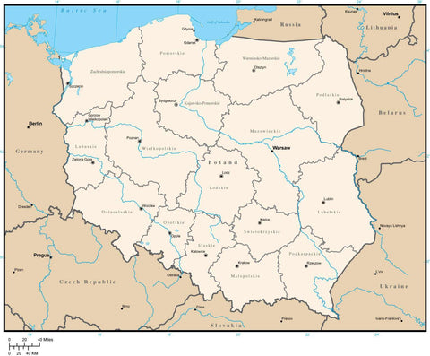 Poland Map with Province Areas and Capitals