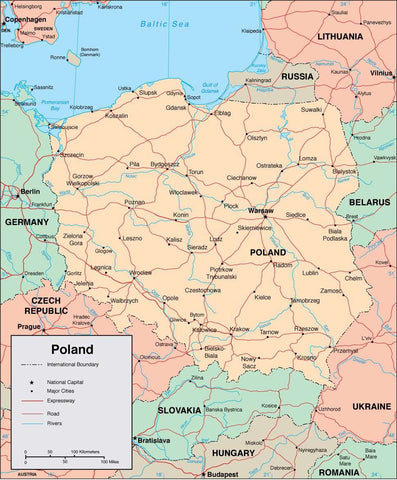Digital Poland map in Adobe Illustrator vector format