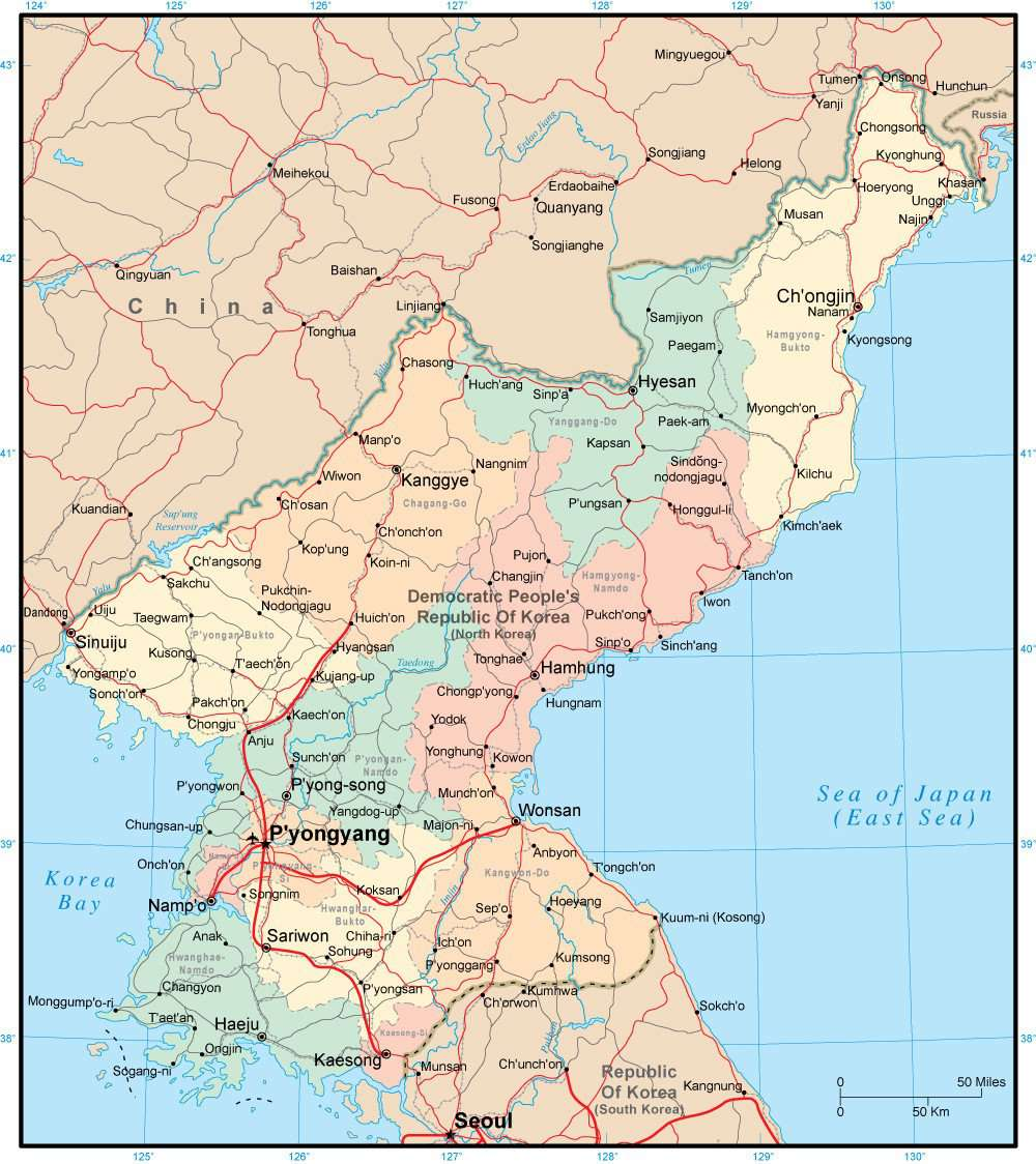 North Korea Page Size Digital Map with Internal Political Boundaries