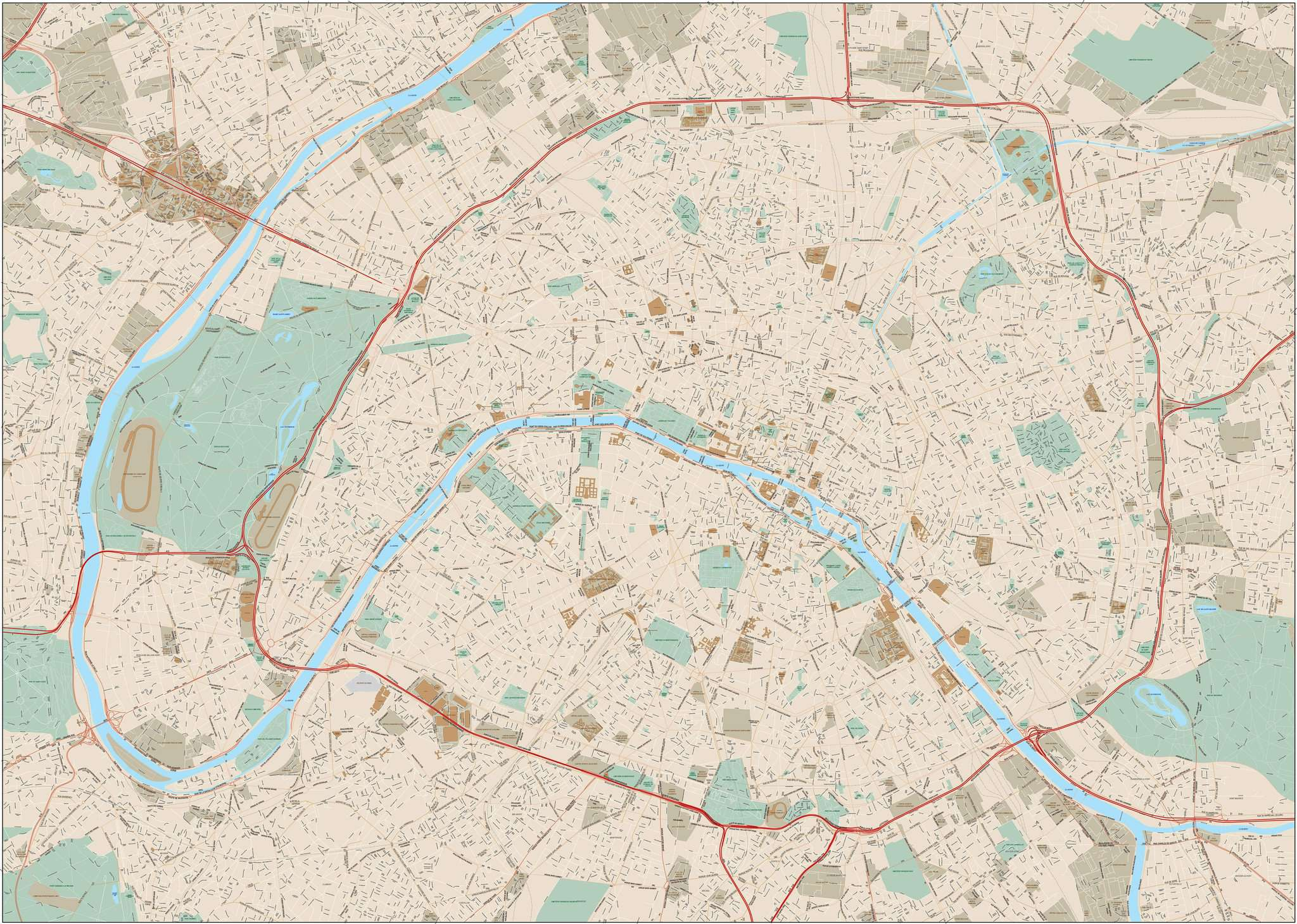Map Of France With City Names.Paris France Map With All Local Streets And City Map Features