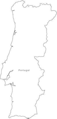 Digital Black & White Portugal map in Adobe Illustrator EPS vector format