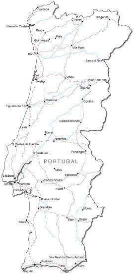 Portugal Black & White Map with Capital, Major Cities, Roads, and Water on portugal on map, portugal spain map, portugal industries map, portugal rivers map, portugal travel map, portugal airports map, portugal country map, portugal politics, portugal map europe, portugal deserts map, portugal weather map, portugal food map, portugal regions map, portugal capital map, portugal terrain map, portugal geography map, portugal tourism map, portugal mountains map, portugal districts map, portugal religion map,