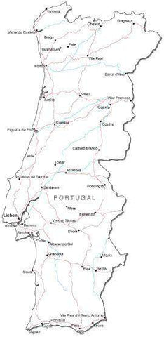 Portugal Black & White Map with Capital, Major Cities, Roads, and Water Features