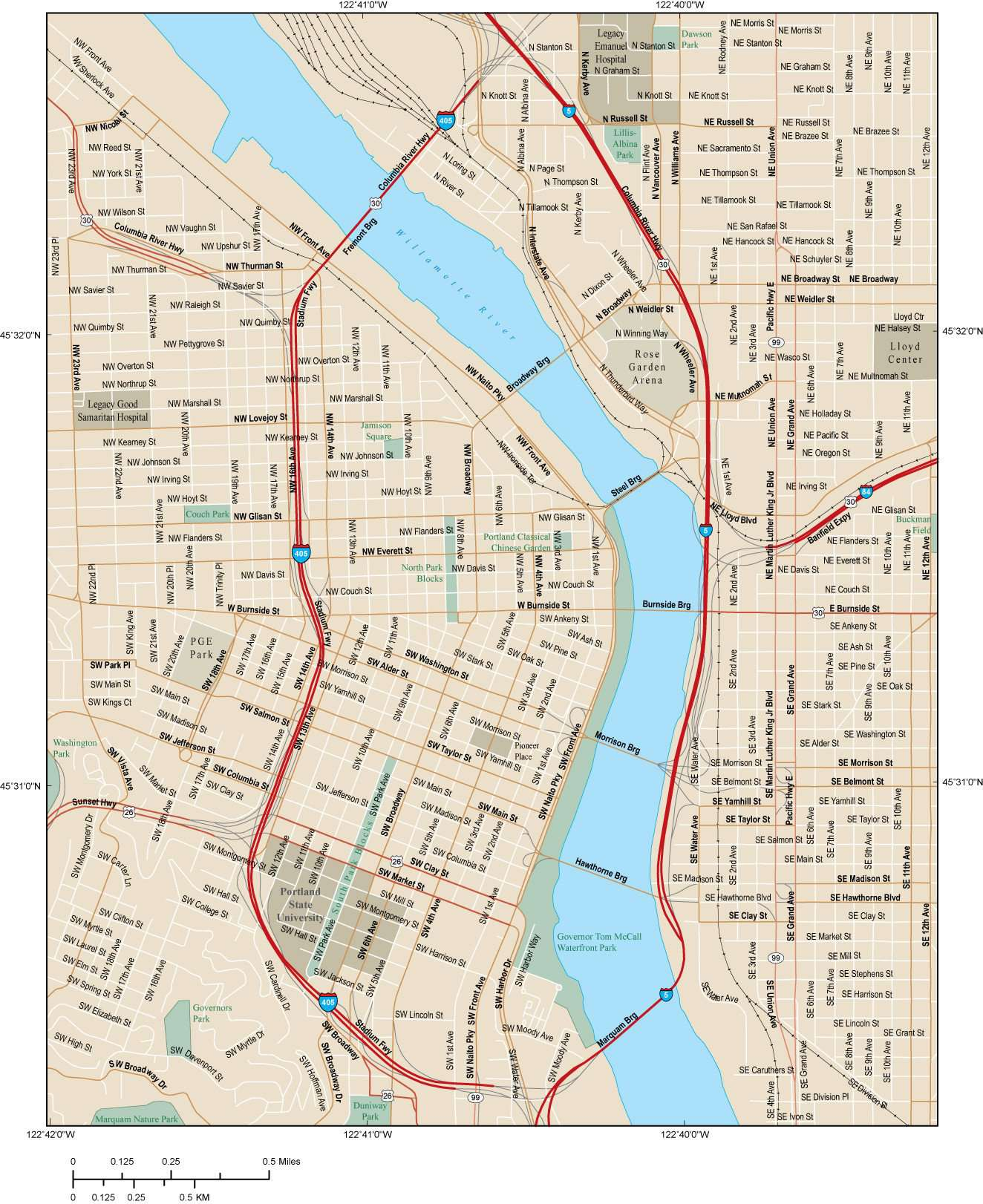Portland OR Map - City Center - 6 suqare miles - with Local Streets