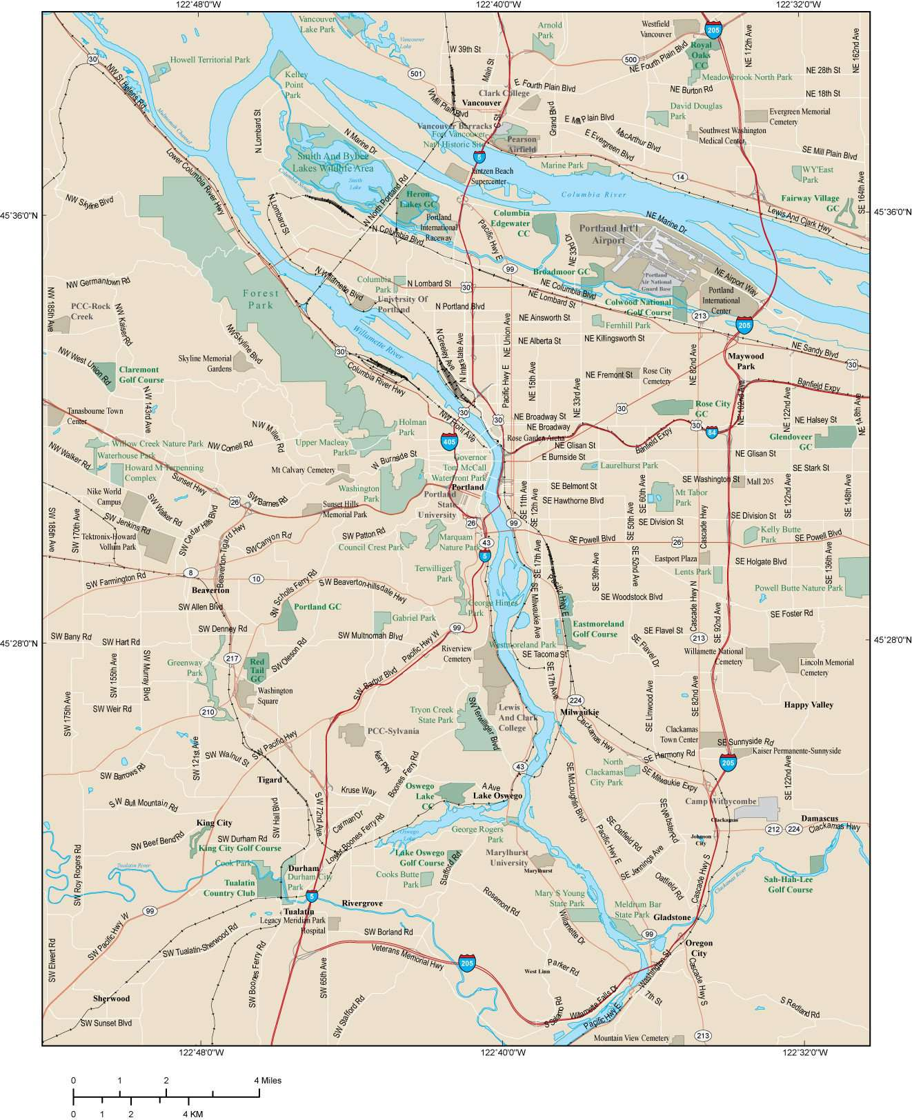 Portland OR Map - Metro Area - 396 square miles - with Major Roads