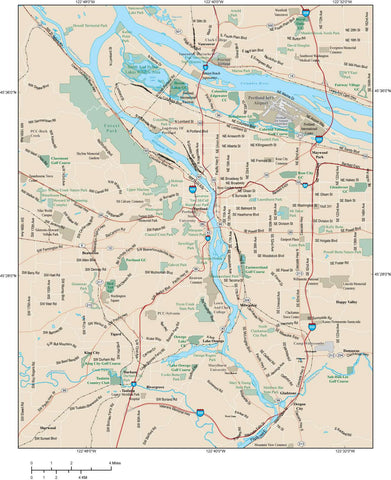 Portland Map Adobe Illustrator vector format PRT-XX-983784