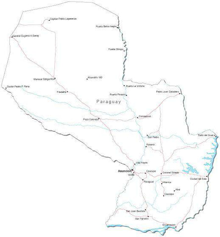 Paraguay Black & White Map with Capital, Major Cities, Roads, and Water Features