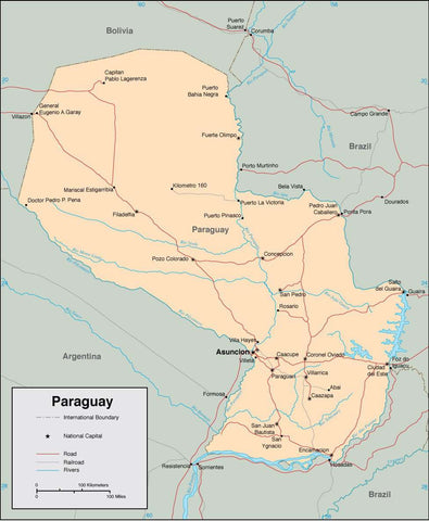 Digital Paraguay map in Adobe Illustrator vector format