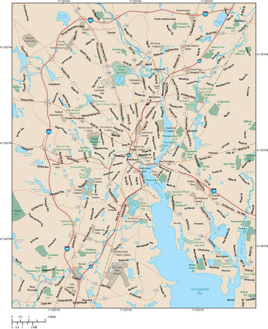 Providence Map Adobe Illustrator vector format PVD-XX-983789