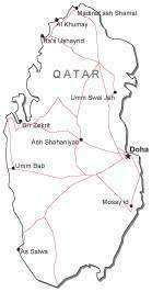 Qatar Black & White Map with Capital Major Cities and Roads