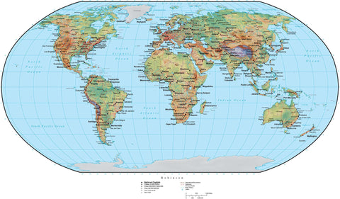 World Terrain map in Adobe Illustrator vector format with Photoshop terrain image RB-EUR-952909