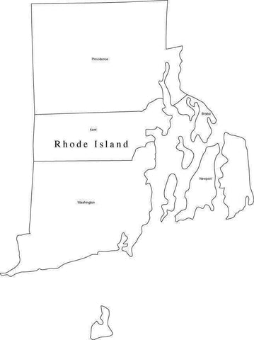 Black & White Rhode Island Map with Counties