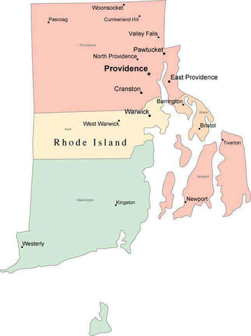 Multi Color Rhode Island Map with Counties, Capitals, and Major Cities
