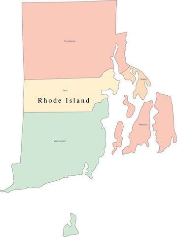 Multi Color Rhode Island Map with Counties and County Names