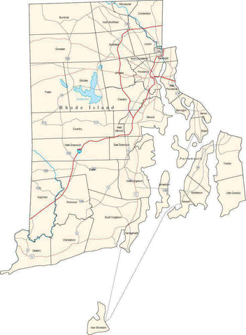 Rhode Island Map with Minor Civil Divisions