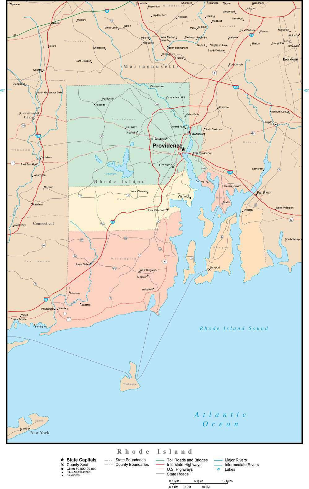 Rhode Island Adobe Illustrator Map with Counties, Cities, County ...