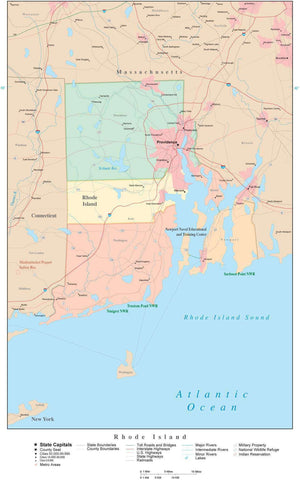 Poster Size High Detail Rhode Island Map with Counties, Cities, Highways, Railroads, Airports, National Parks and more