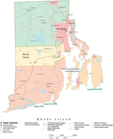 Detailed Rhode Island Cut-Out Style Digital Map with Counties, Cities, Highways, and more