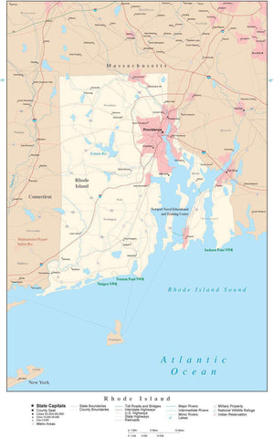 Poster Size Rhode Island Map with County Boundaries, Cities, Highways, National Parks, and more