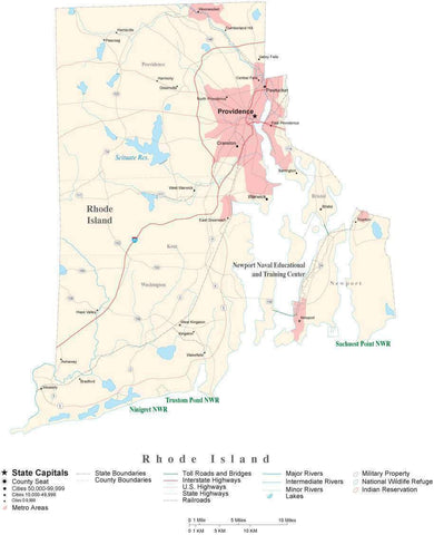 Detailed Rhode Island Cut-Out Style Digital Map with County Boundaries, Cities, Highways, and more