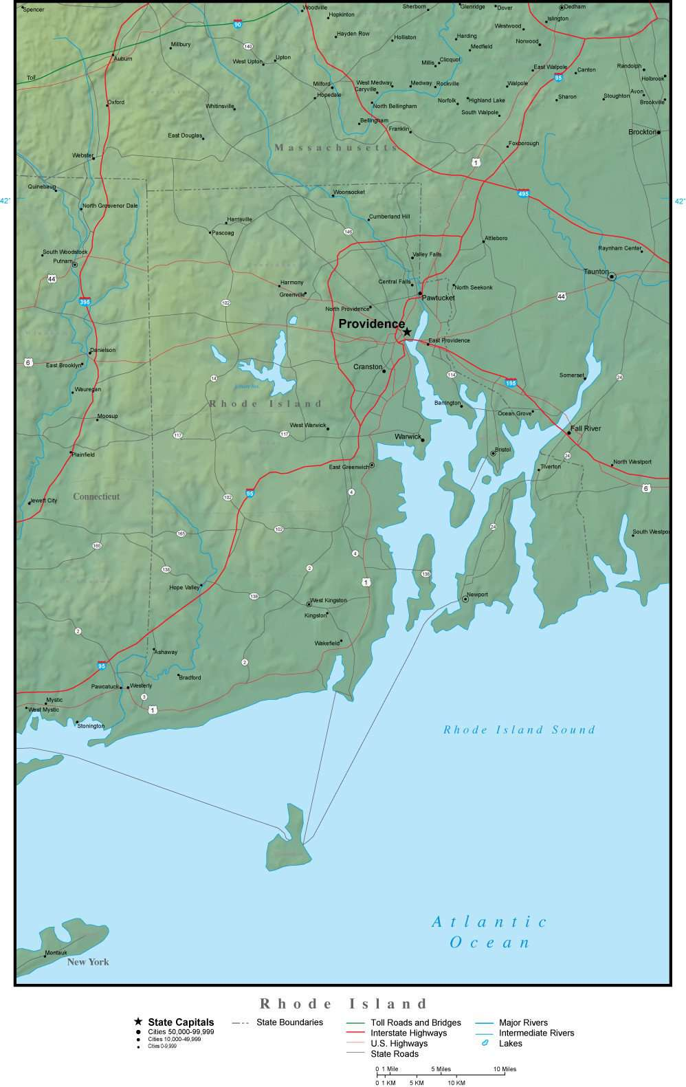 Rhode Island State Map Plus Terrain with Cities & Roads – Map Resources