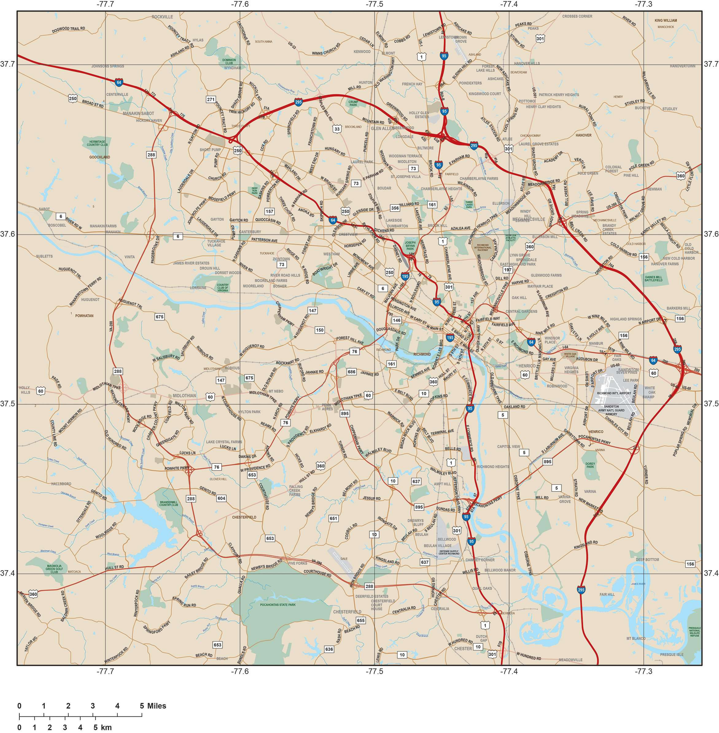Richmond VA Map - Metro Area with Major Roads