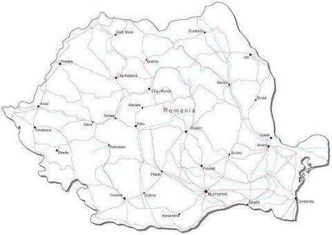 Romania Black & White Map with Capital, Major Cities, Roads, and Water Features