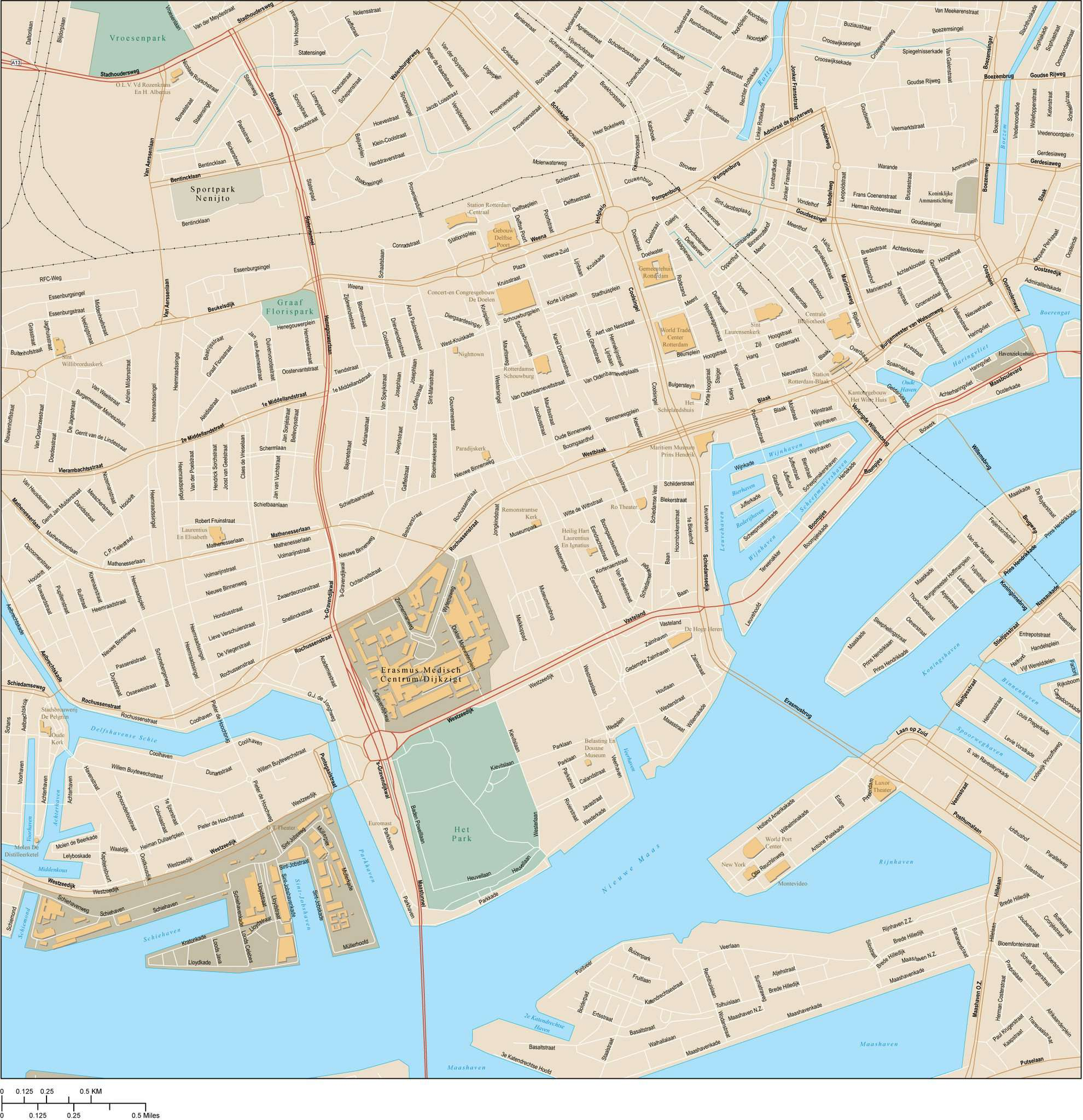 Rotterdam Netherlands Map - Center - 16 square miles - with Local Streets