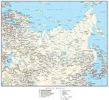 Russia Map with Country Boundaries, Capitals, Cities, Roads and Water Features
