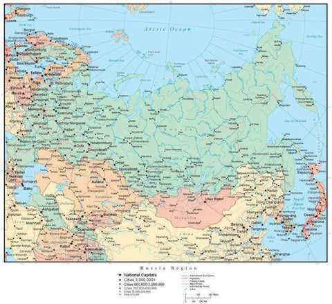 Russia Map with Countries, Capitals, Cities, Roads and Water Features