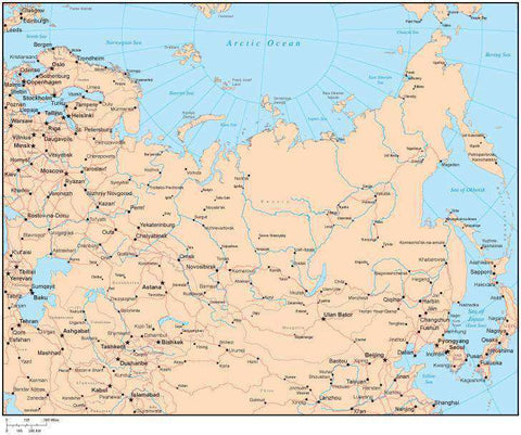 Single Color Russia Map with Countries, Capitals, Major Cities and Water Features