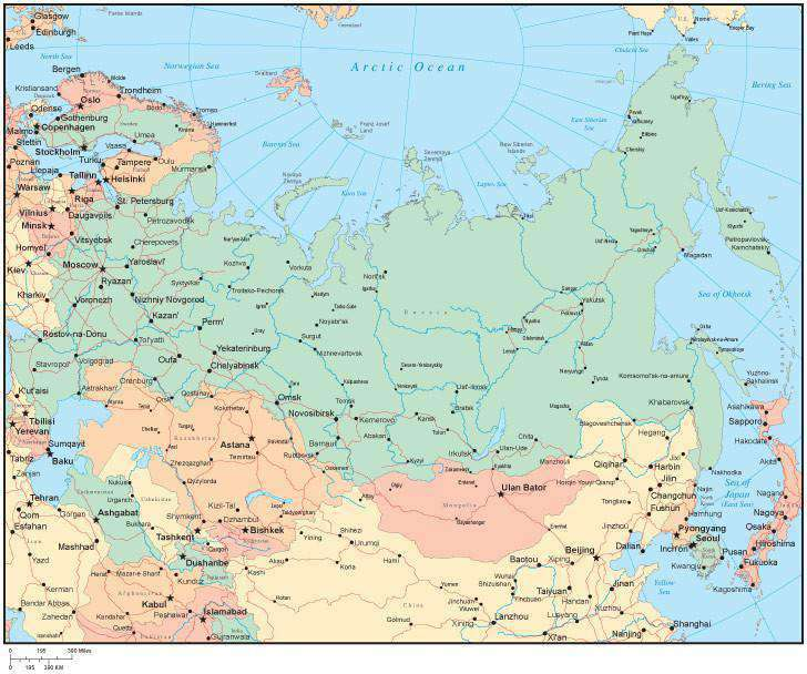 Multi Color Russia Map with Countries, Major Cities – Map Resources