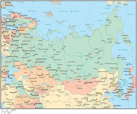 Multi Color Russia Map with Countries, Capitals, Major Cities and Water Features
