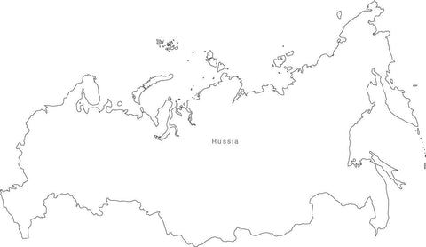 Digital Black & White Russia map in Adobe Illustrator EPS vector format
