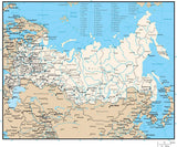 Russia Map with Administrative Areas and Capitals