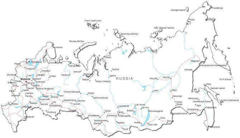 Russia Black & White Map with Capital, Major Cities, Roads, and Water Features