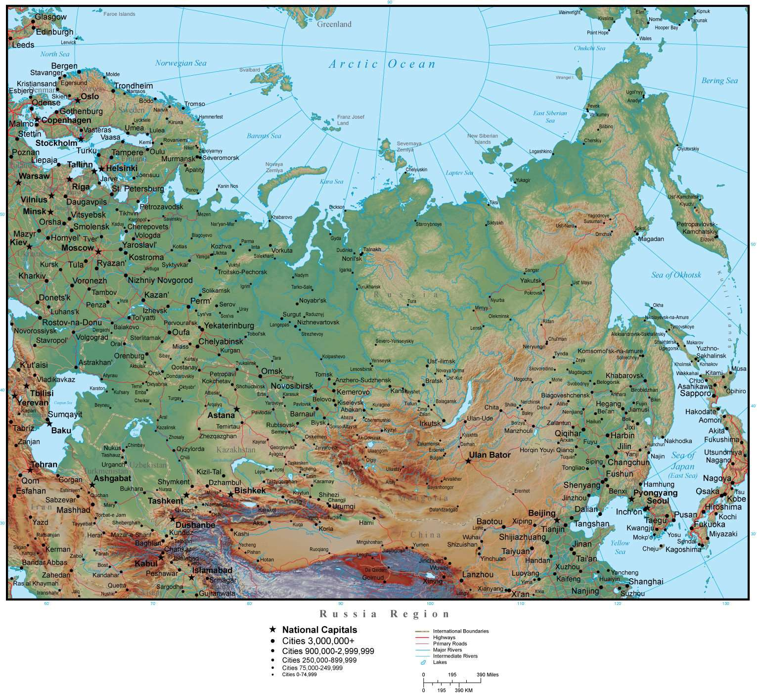 Russia Region Map Plus Terrain with Countries, Capitals, Cities, Roads, on us physical map, us journey map, us frontier map, us heat map, us territorial sea map, us infrastructure map, us tundra map, us explorer map, terrain features on map, us hydrology map, us terrain park council, us tree cover map, us environment map, us culture map, us santa fe map, us avalanche map, us cloud cover map, us population density map, us snowfall map, us climate map,